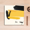 Abstract Yellow Black Color Painted Canvas Print
