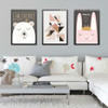 Friendly Cartoon Bear Happy Life Rabbit 3 Piece Wall Decor