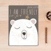 I Am Friendly Cartoon Bear Canvas Print