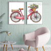 Romantic Bicycle Flowers Canvas Art