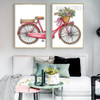 Romantic Bicycle Flowers Canvas Wall Art