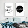 Stay Positive Smile Motivational Life Quote Black White Canvas Art