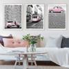 Modern City Pink Scooter Car Train Poster Canvas Wall Art