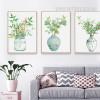 Green Plants in Vase Watercolor Art