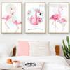 Pink Floral Flamingo Bird Canvas Painting Print Art