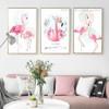 Pink Floral Flamingo Bird Canvas Painting Prints