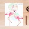 Pink Flamingo Bird Couple Canvas Print