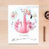 Pink Floral Flamingo Bird Canvas Painting Print