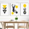 Geometric Triangles, Deer, Circles 3 Piece Canvas Prints