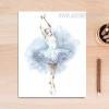 White Ballet Dancing Girl Watercolor Art