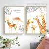Large Forest Spirit Deer Giraffe Animals Leaf Poster Canvas Prints