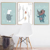 Cartoon Animals Sweet Nursery Wall Art
