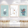 Cartoon Animals Sweet Nursery Wall Art Prints