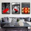 Red Umbrella in City Living Room Decor Canvas Prints