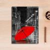 Red Umbrella in City Bedroom Decor Canvas Print