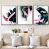 Europe Fashion Green Leaf Pink Feather Canvas Painting Prints