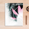 Europe Fashion Green Leaf Pink Feather Canvas Art