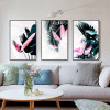 Europe Fashion Green Leaf Pink Feather Canvas Wall Art Set