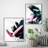 Europe Fashion Green Leaf Pink Feather Watercolor Prints