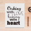 Black and White Cooking with Love Baking With Heart Canvas Print