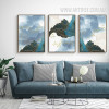 Modern Abstract Landscape Golden Birds 3 Piece Canvas Prints