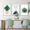 Abstract Refreshing Green Leaves Triangles Geometric Canvas Art