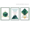 Abstract Refreshing Green Leaves Triangles Geometric Canvas Print