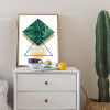 Modern Green Leaves Triangle Geometric Wall Art