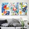 Colorful Leaves Flowers Flamingo Parrot Toucan Birds Art