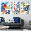 Colorful Leaves Flowers Flamingo Parrot Toucan Wall Art Birds