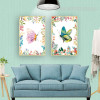 Beautiful Butterfly Leaves and Flowers Wall Art Prints