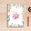 Beautiful Purple Butterfly Leaves and Flowers Wall Art