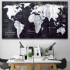 World Map Black and White Art