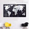 World Map Black and White Wall Art