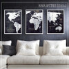 Black and White Map of the World Canvas Wall Art