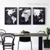 Black and White Map of the World Wall Art