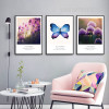 Purple Lavender Flower and Butterfly 3 Piece Canvas Wall Art