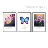 Purple Lavender Flower and Butterfly 3 Piece Wall Art