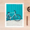 Blue Cycle on Beach Canvas Print