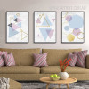 Geometric Pattern Colorful Triangles Hexagons Wall Art