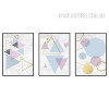 Geometric Pattern Colorful Triangles Hexagons Canvas Wall Art
