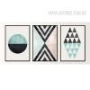 Vintage Geometric Pattern Triangles Circle Home Decor Prints