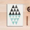 Vintage Geometric Pattern Triangles Wall Art  Print