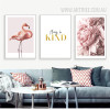 Modern Pink Flamingo Always Be Kind Peony Flowers Canvas Art