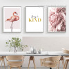 Modern Pink Flamingo Always Be Kind Peony Flowers Kitchen Wall Art