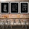 Black and White Drawings Bike Guitar Design Canvas Prints