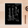 Black and White Drawings Guitar Front and Back Design Canvas Art