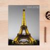 Yellow Eiffel Tower in Paris Vintage Poster Print