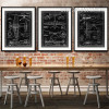 Vintage Black and White Fighter Jet Diagram Canvas Prints