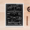 Vintage Black and White Fighter Jet Diagram Canvas Wall Art